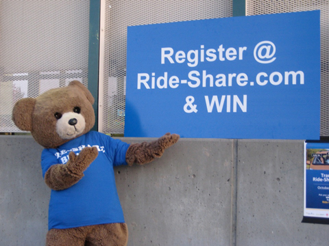 The Ride-Share bear wants you to register at <a href=http://www.ride-share.com>ride-share.com</a>!