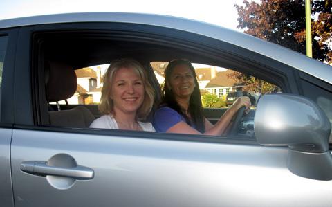 Jen and Susan ridesharing!