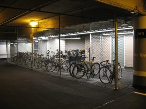 The secure bike parking facility offered by the Metrotower complex.