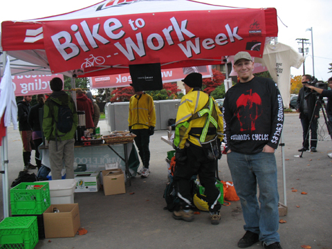 Mike Grant, bike mechanic from Edmonds Cycle, at the Bike to Work Week commuter station at Metrotown.