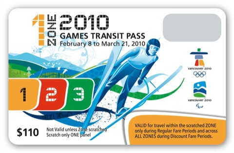 The one-zone Olympic FareCard. Check out the two-zone, three-zone, and concession designs at the end of this post.