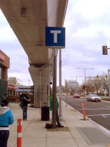 New T markers will be posted at three Canada Line stations this December. This one is at Richmond-Brighouse Station.