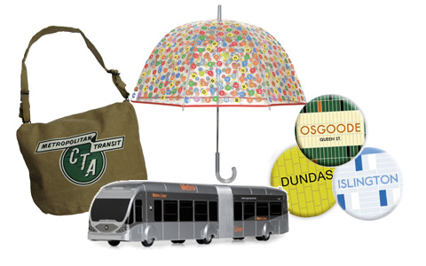 A Chicago Transit Authority messenger bag; a New York subway umbrella; buttons from the Toronto system; and a model bus from L.A.