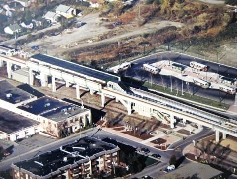 Metrotown SkyTrain Station circa 1986.