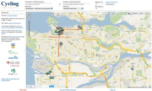 A screenshot of the UBC cycling trip planner.
