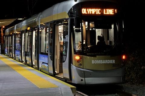 The Olympic Line streetcar by night. By <a href=http://www.flickr.com/photos/dennistt/4294996818/in/set-72157623134999211/>DennisTT</a>.