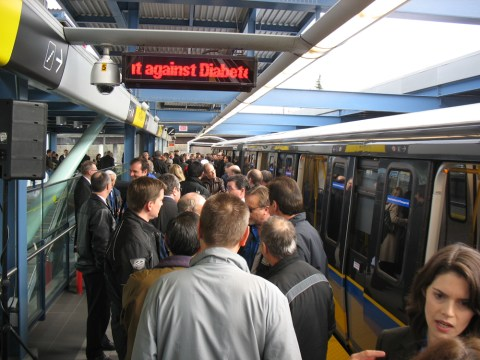 The platform was filled with the staff from SkyTrain.