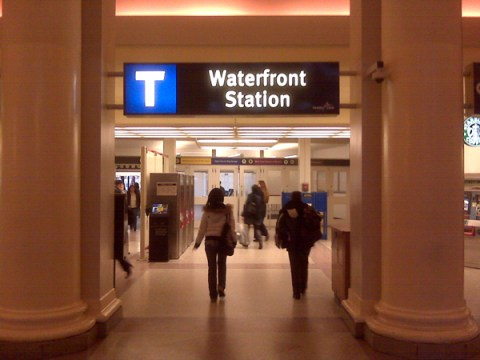 The new entrance name sign at Waterfront Station.