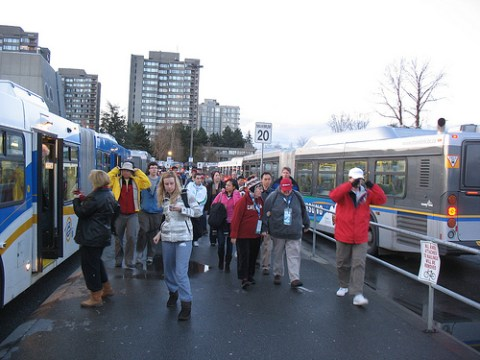 The crowds for UBC Thunderbird Arena, getting off the 99 at the UBC diesel bus loop.