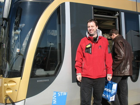 Matthew Laird, a driver on the Olympic Line demonstration streetcar!