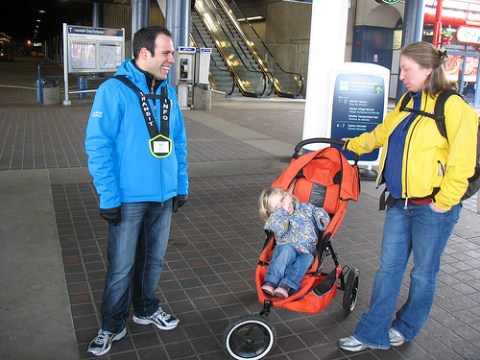 Transit host Vince helps out a customer.