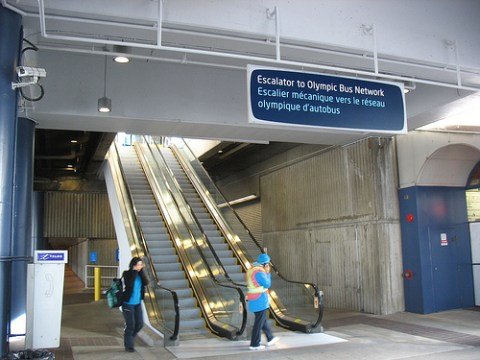 The escalator leading up to the Olympic Bus Network departure hub. It's just to the right of the bus loop when you exit the SeaBus north terminal at Lonsdale Quay.