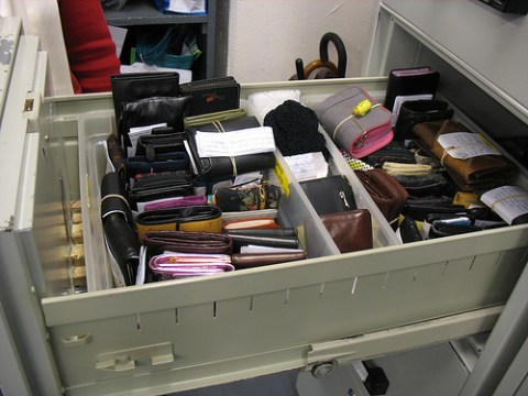 Wallets ready to be picked up by their owners.
