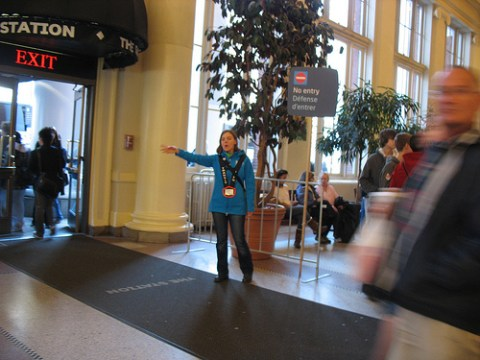 A transit host indicating no access to the Canada Line from the main doors of Waterfront Station.