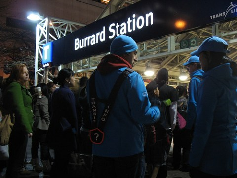 When I showed up at Burrard Station, there was a lineup! The transit hosts were just trying to figure out where to put everyone.