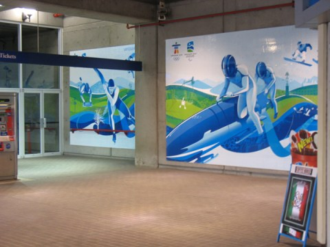 Olympic ads at Stadium-Chinatown Station.
