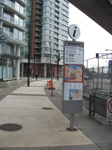 The informational signage outside Stadium-Chinatown Station.