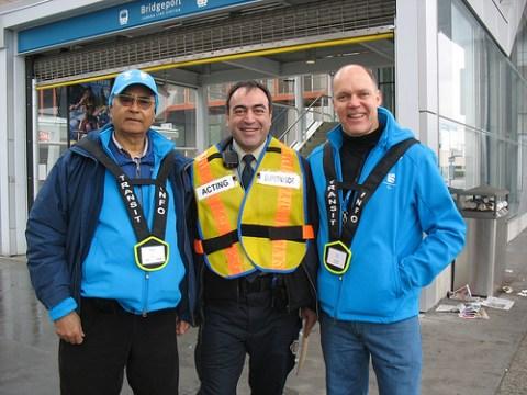 Hosts Shinder and Ron, plus transit supervisor Saeed at Bridgeport Station.