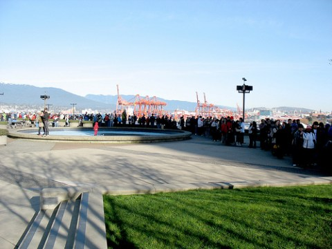 About half of the lineup stretched across the upper plaza!