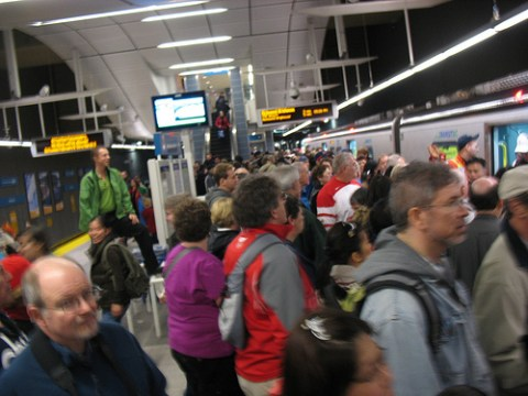 Here is the crowd I passed on the Waterfront platform, waiting to board the next Canada Line train.