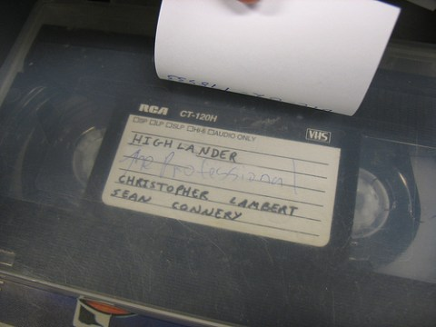 A VHS tape recording of Highlander!