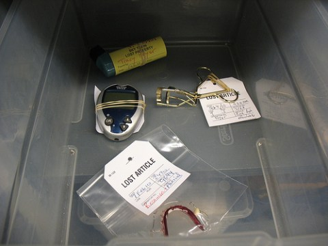 In the medical box, there was a blood glucose monitor, an inhaler, an eyelash curler, and a retainer.
