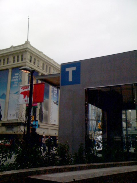 Temporary T signage at Vancouver City Centre Station.