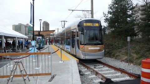 The Olympic Line Streetcar, photographed on opening day, January 21, 2010.
