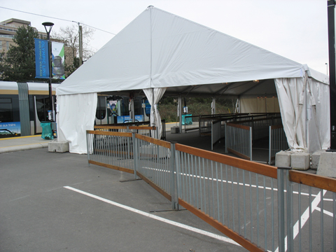 The Olympic Line lineup tent.