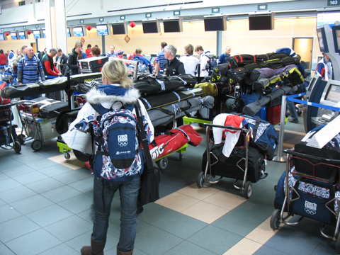 The Czech team with their skis and equipment.