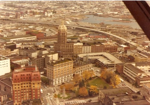 A look at downtown Vancouver in 1981, toward where B.C. Place is today. Photo by <a href=http://farm5.static.flickr.com/4061/4372347298_0d8e24fb43_o.jpg>Dave2</a>.