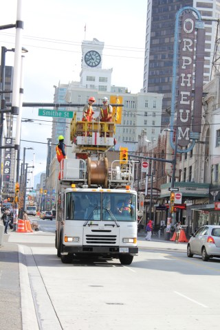 Another shot of the Trolley Overhead crew on Granville Street. You can see the other crew in the distance behind them!
