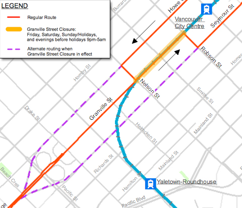 A close-up of the reroute for the 50, which will take place on weekends and holidays from April 30 to October 31. Click the picture to download a much larger PDF of this map.