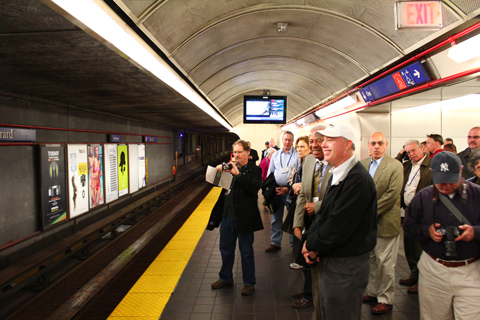 Burrard Station. Note the photographers waiting for the train to arrive.