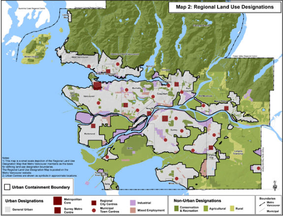 Metro Vancouver Regional Land Use Designations map