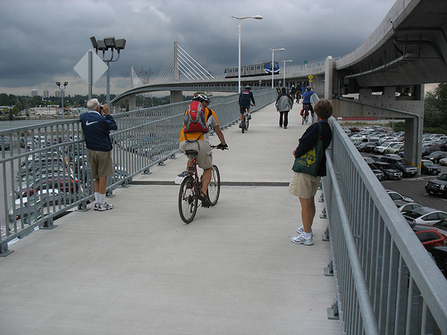 The Canada Line pedestrian and bike bridge