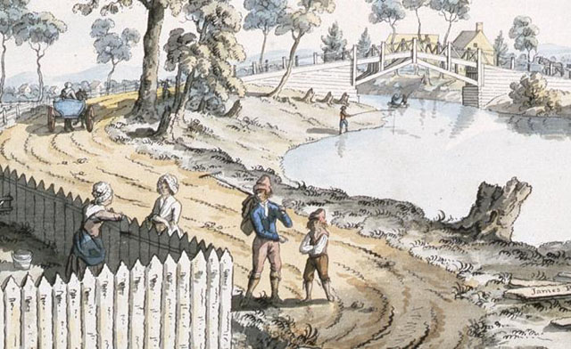 Image from public archives, A View of the Bridge over the Berthier River (detail), 1785, by James Peachey   James Peachey, Library and Archives Canada, Acc No 19701881501, Collection of Canadiana, W.H. Coverdale, C045559 http://www.civilization.ca/virtualmuseumofnewfrance/dailylife/communications/