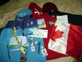 Burt's 2010 memorabilia including his Canadian Flag
