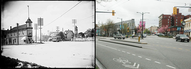 Kingsway and Main 1908 and 2014. Kingsway and Main, 1908. Philip Timms. VPL# 6780 (left), Kingsway and Main, 2014 Robert Willis