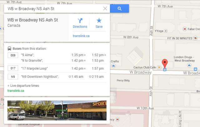 Google Maps has live departure times now!