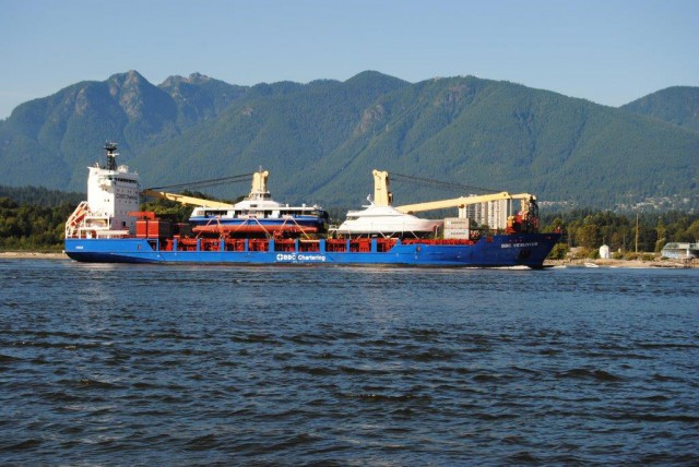 The Burrard Otter II in the otter-filled Burrard Inlet