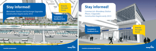 Hear what's coming up at Metrotown Station and Commercial-Broadway Station!