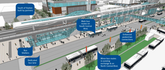 Summary of bus exchange upgrades at Metrotown Station