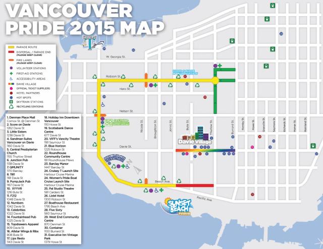 Vancouver Pride 2015 parade map