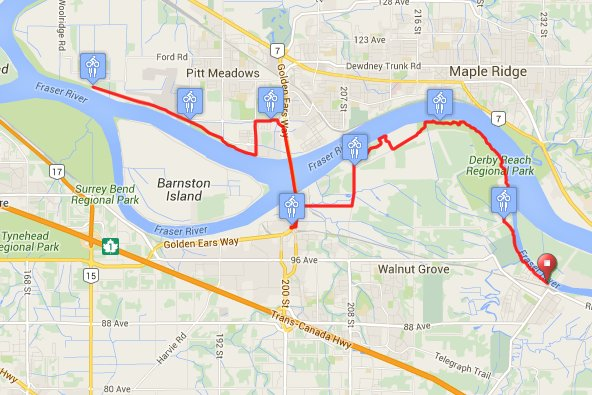 Race day route along the Trans Canada Trail