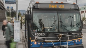 Photo of a bus that says Thank You in the bus blind area
