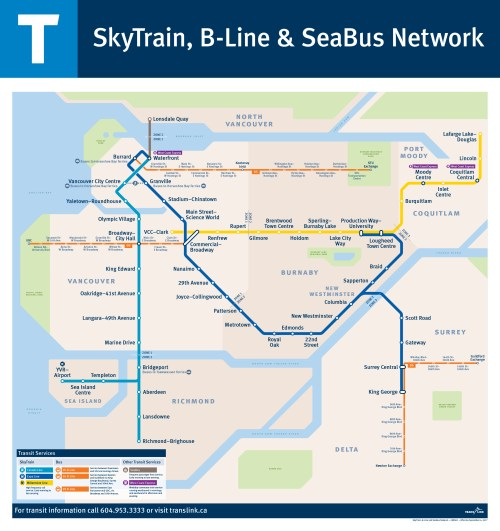 The SkyTrain, B-Line and SeaBus Network map
