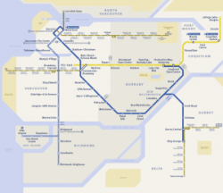 High contrast version of the SkyTrain, B-Line and SeaBus Network map