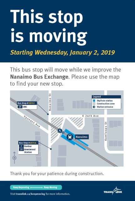 Nanaimo Bus Exchange bus stop relocation sign