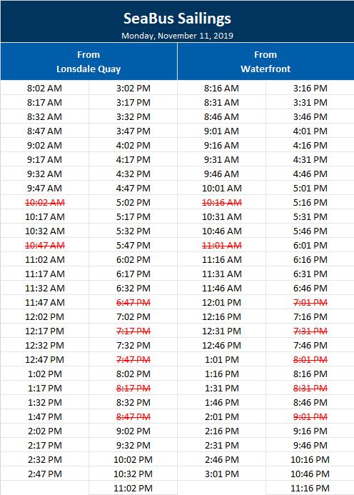 SeaBus Timetable for Monday, November 11